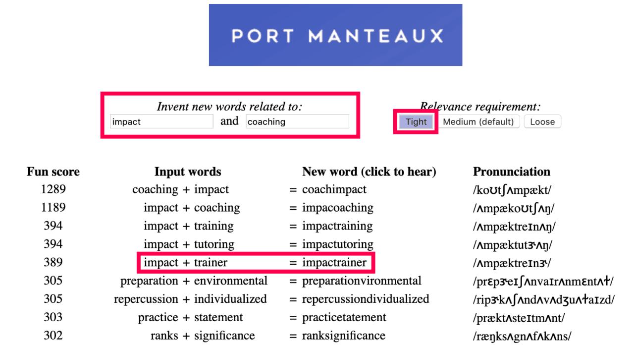 portmanteaux words generator