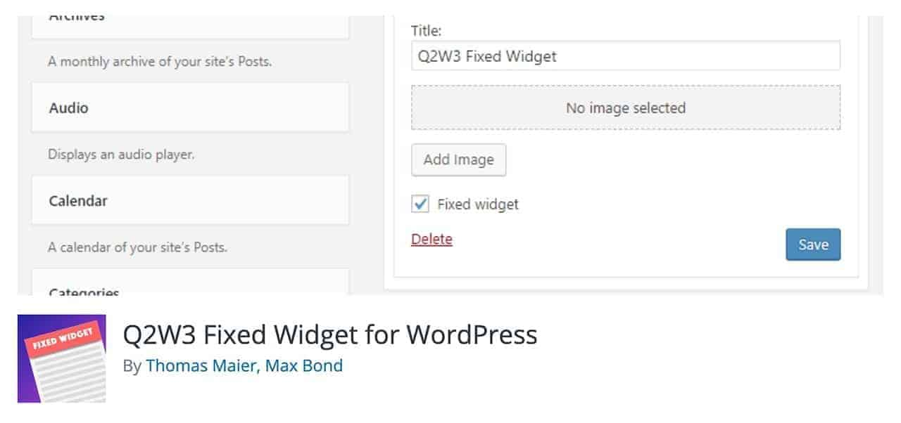 q2w3 fixed widget wordpress plugin