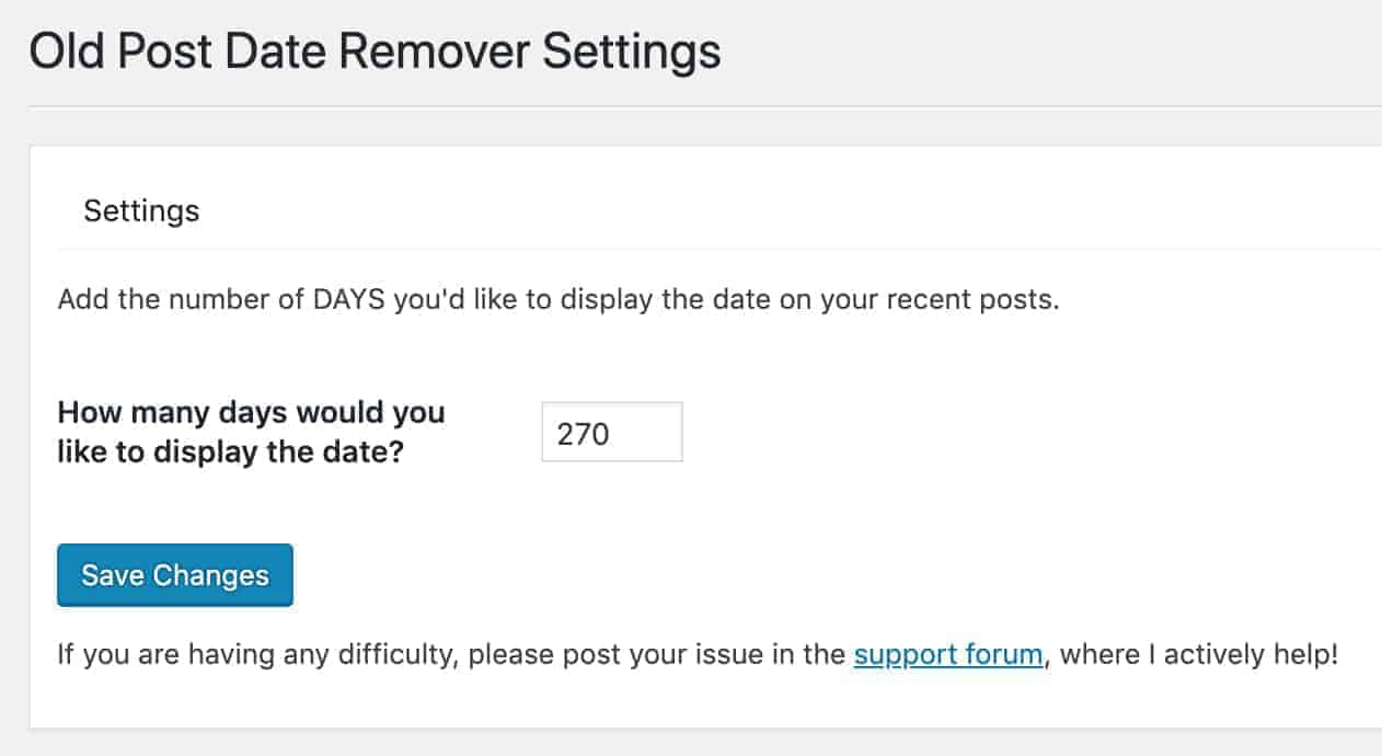 wp old post date remover settings