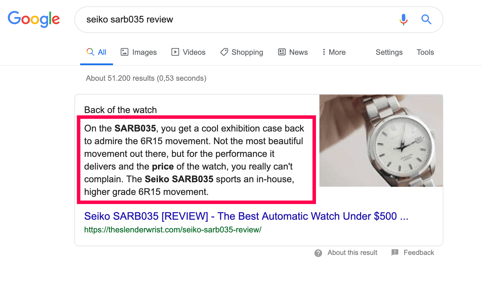google featured snippet underlying question