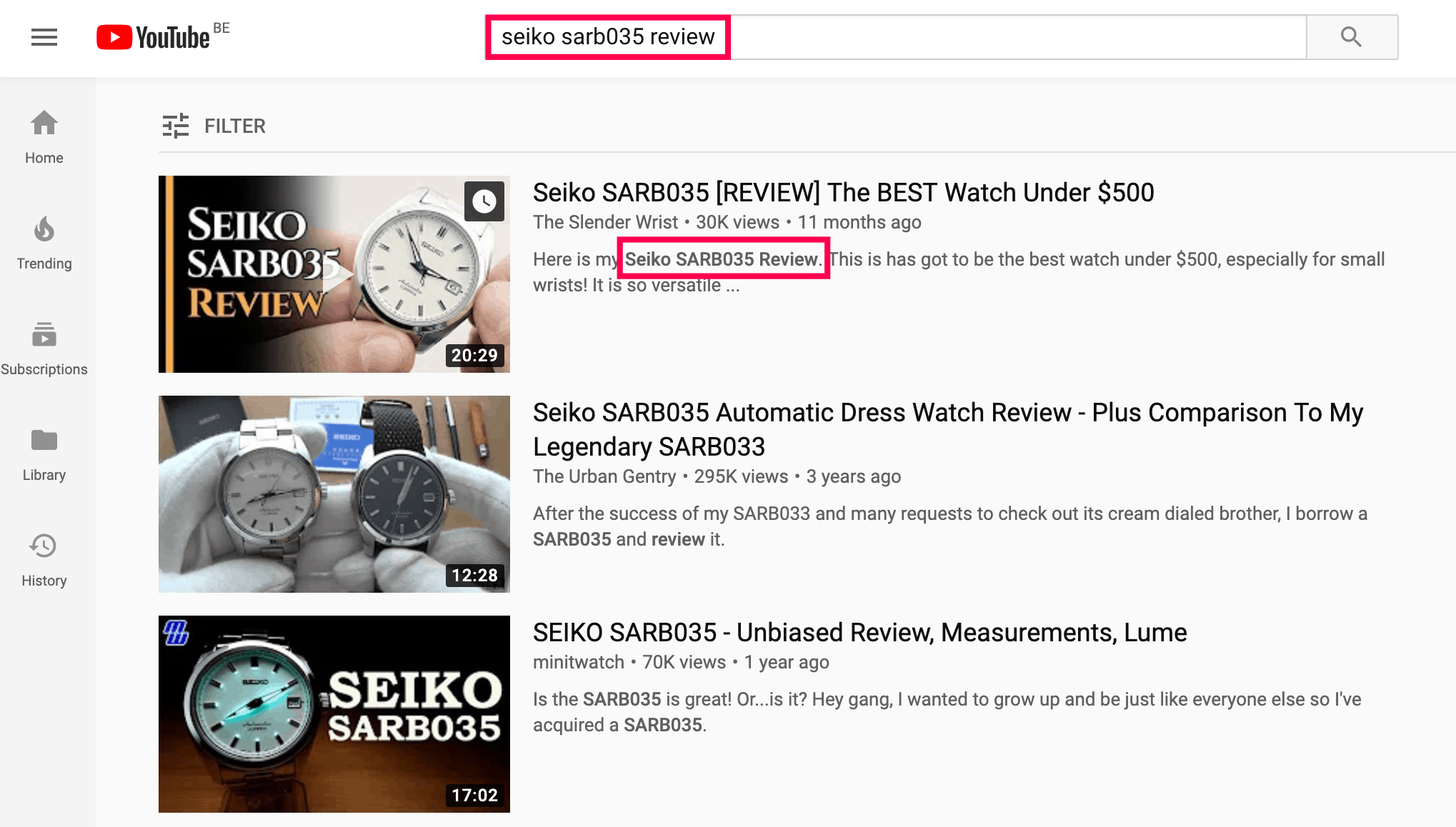 target keyword in first sentence of video description