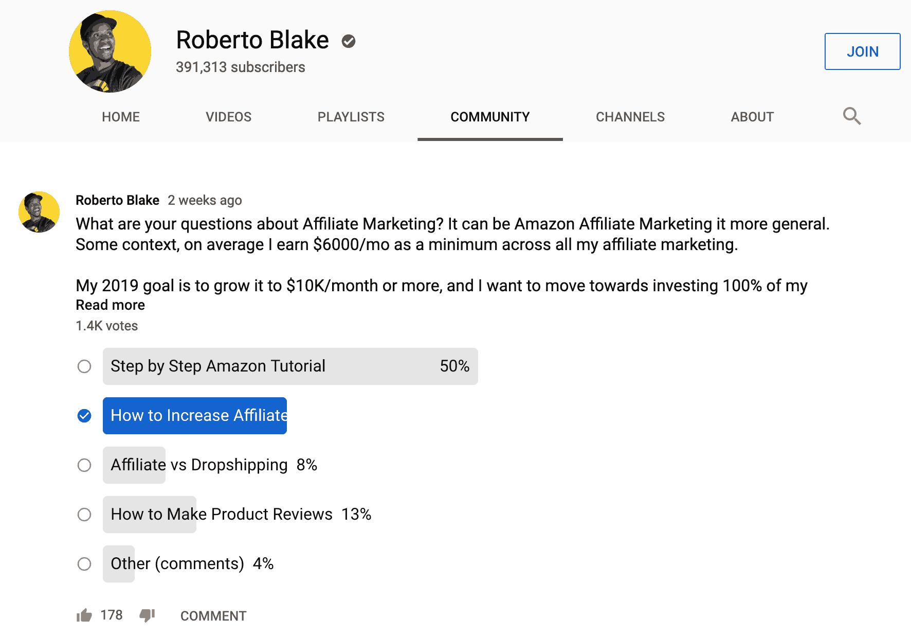 youtube community tab roberto blake