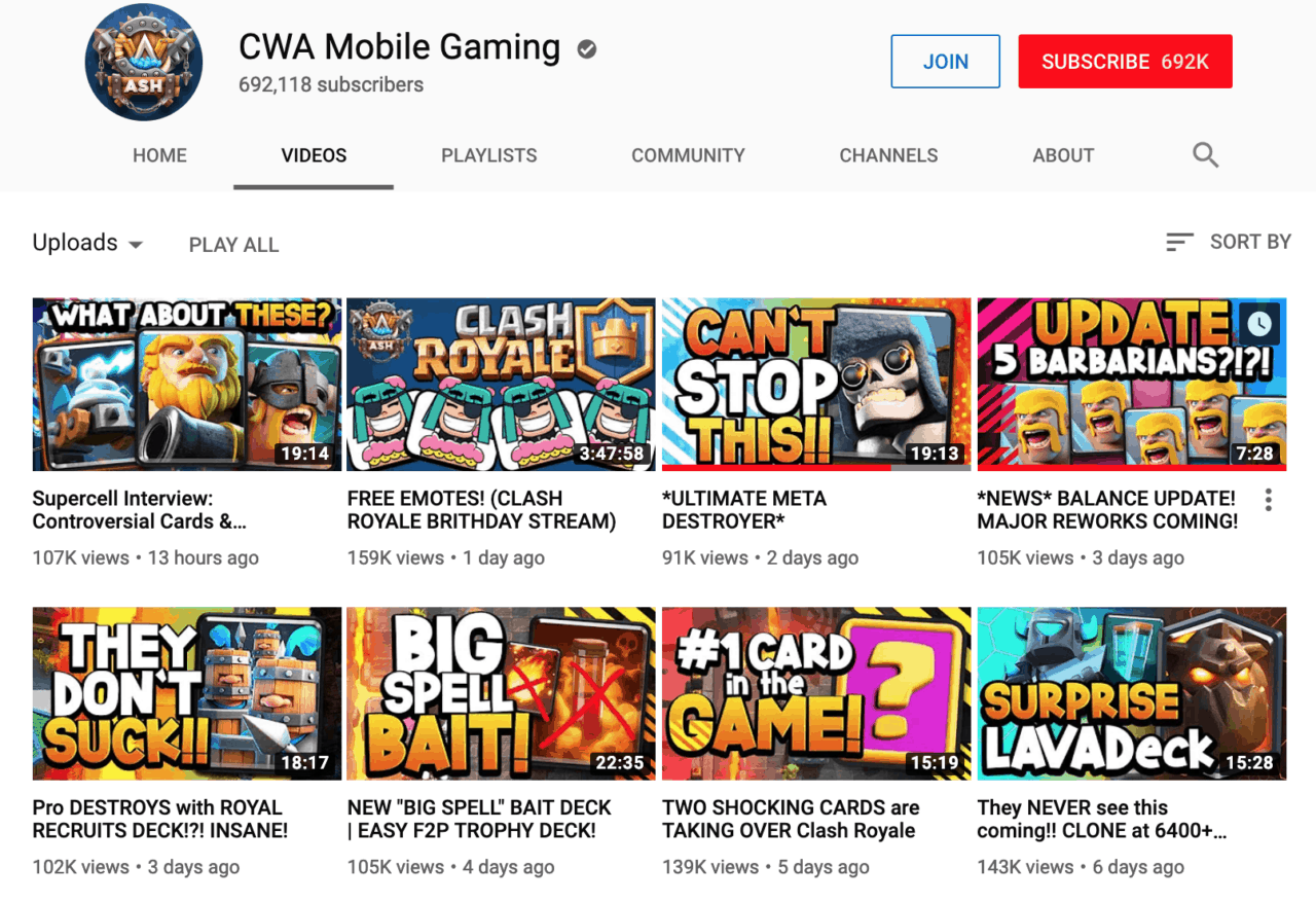 cwa mobile gaming channel content schedule